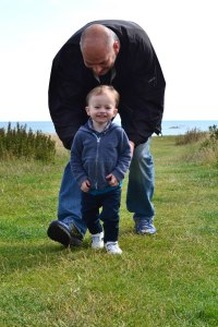 Daz and Jack on Holy Island